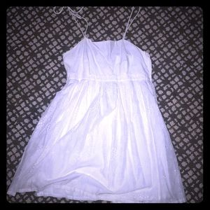 Short white boho dress with ties for straps
